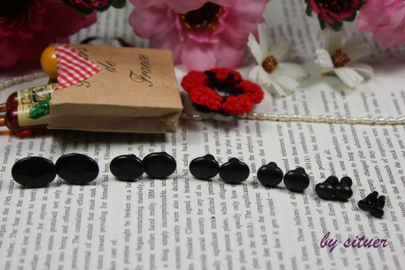 6-size Black oval Safety Eyes for Amigurumi or doll-1 pair for each size