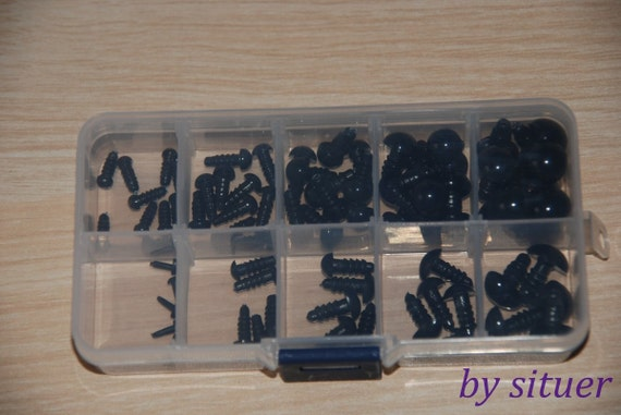 Kit of 4.5  6 8 10 12mm Black Safety Eyes& Triangle Nose for crochet doll-totally 25 sets