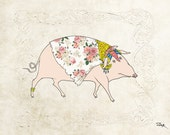 "The Lady with a cloak of roses and luxury jewelry - Animal portrait, Drawing of a Pig - Art Print 12"" x 16"" (A3) by SunshineBar"