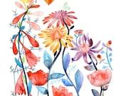 Magical Garden Bird Flowers Nature Watercolor Illustration Print Multicolored