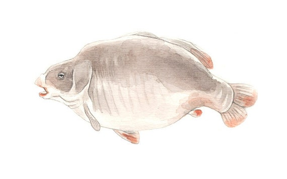 Lazy Fish Lake Fishing Watercolor Illustration Print Handmade Decoration Brown Beige