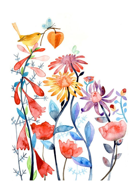 Magical Garden Bird Flowers Nature Watercolor Illustration Print Multicolored