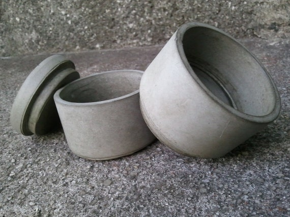 concrete stackable spice jar set with lid bees waxed