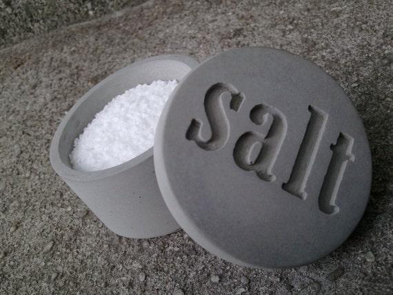 "concrete ""salt"" spice jar with lid"