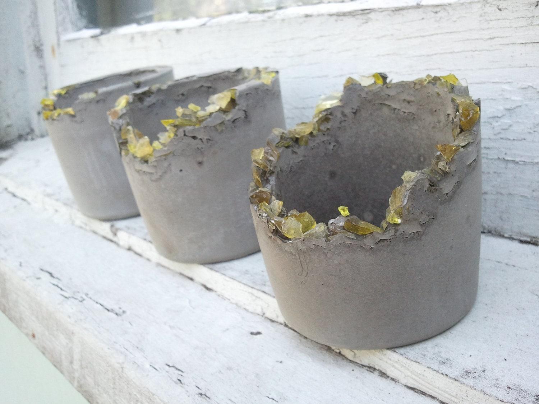 Concrete Pots For Plants : Concrete pot set of eroded pots urban fossils