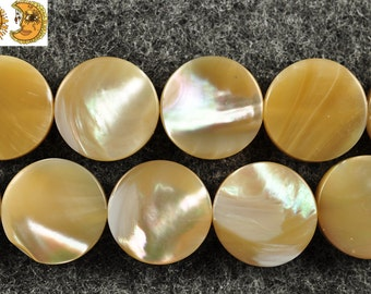 15 inch strand of MOP,mother of pearl smooth puffy coin beads 12 mm