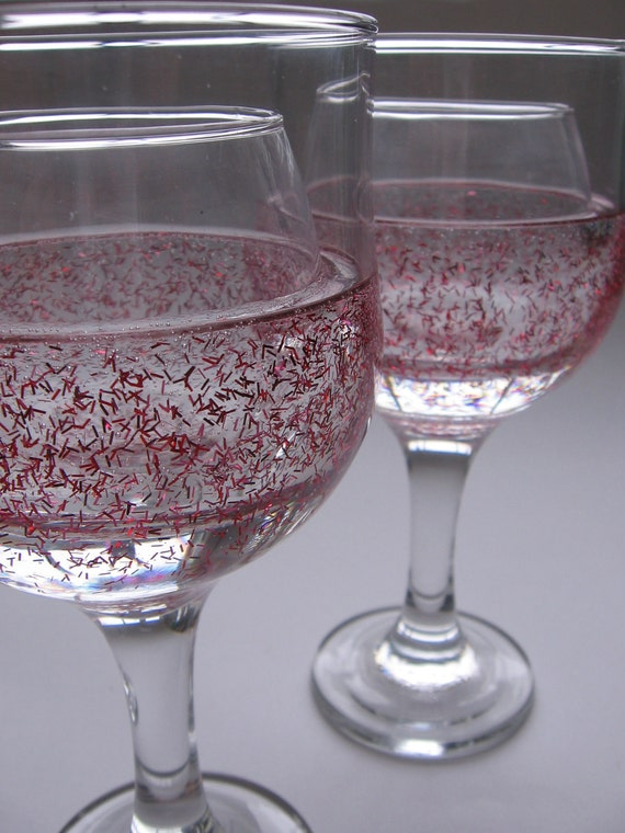 Red and Pink Tinsel Glitter Candle Holder
