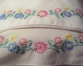 Flower Sway.  Set of two hand-embroidered Pillowcases