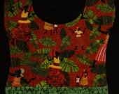 Boy/Girl Bib with Pocket, African People with Green Leaves and Rust Orange Background