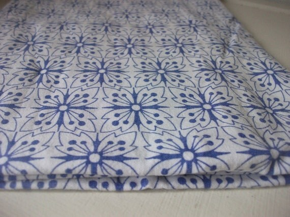 Vintage pillow case blue flowers retro cushion cover