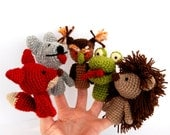 5 finger puppet, crocheted hedgehog, owl, fox, wolf, snake, amigurumi woodland toys, rainbow or multicolour