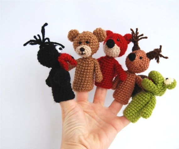 5 animal finger puppet, crocheted frog, bear, fox, squirrel and crow amigurumi woodland puppet, toys, gift for kids, OOAK, brown, red, green