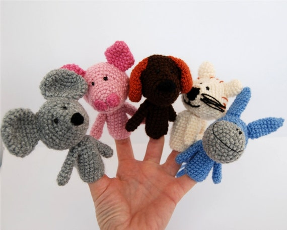 5 finger puppet, crocheted mouse, cat, dog, pig and donkey, amigurumi domestic animals, pastel multicolour