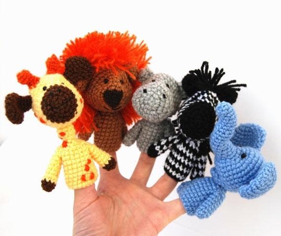 5 finger puppet, crocheted lion, giraffe, elephant, zebra, hippopotamus, amigurumi safari toys, orange yellow blue, tiny, cute  amigurumi