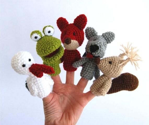 woodland finger puppet set, crocheted stork, frog, fox, wolf, squirrell, tiny amigurumi, stuffed forest animals, for children