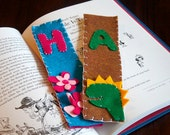 Personalized Bookmark Dinosaur Flowers Monogrammed Personalized with Pocket