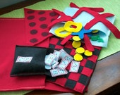 Travel Games - Six Felt Games for the car - Checkers, Chess, Reversi, Dominoes, Triangle Puzzle, Tic-Tac-Toe