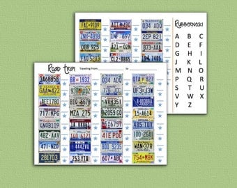 Travel Game - License Plate Rubber Neck Road Trip Games - Printable - Last Minute