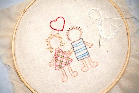 Love Hand Embroidery Pattern Wedding Couple With By CakeInTheMorn