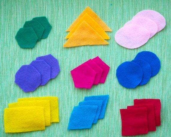 Felt Pattern Blocks - Preschool Math - Felt Shapes - Felt Toy