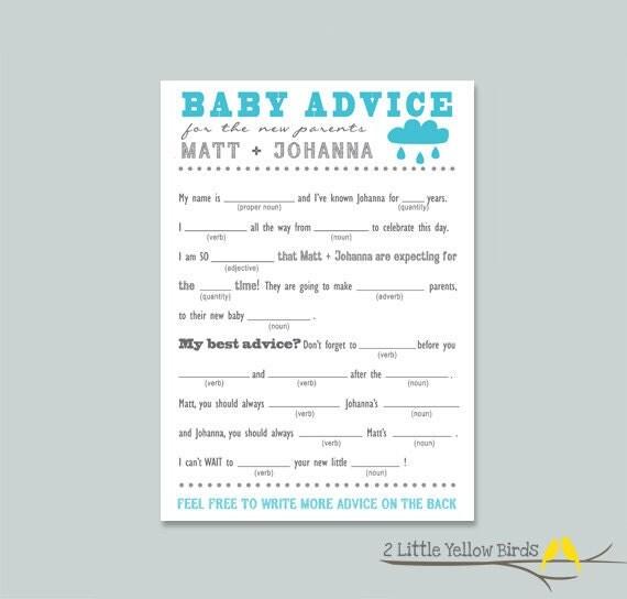 Baby Shower Advice Card - Mad Libs (Rain Cloud)