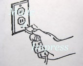 Electric Charge Socket and Plug Rubber Stamp