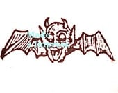 Traditional Vampire with Horned Devil-Head Rubber Stamp