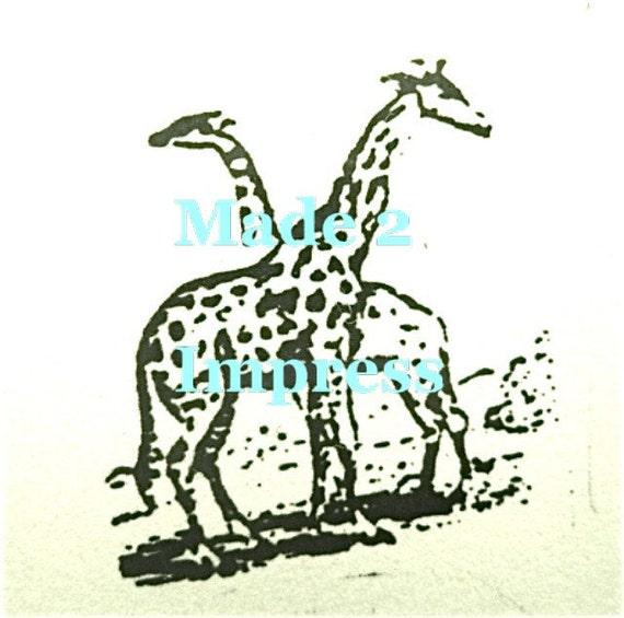 Twin Giraffes Rubber Stamp