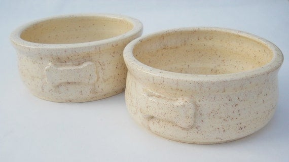 Vanilla bean handmade pottery dog food and water bowl set for medium dogs