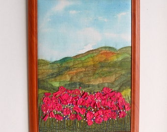 fiber art textile pictures fabric landscape painting  embroidery
