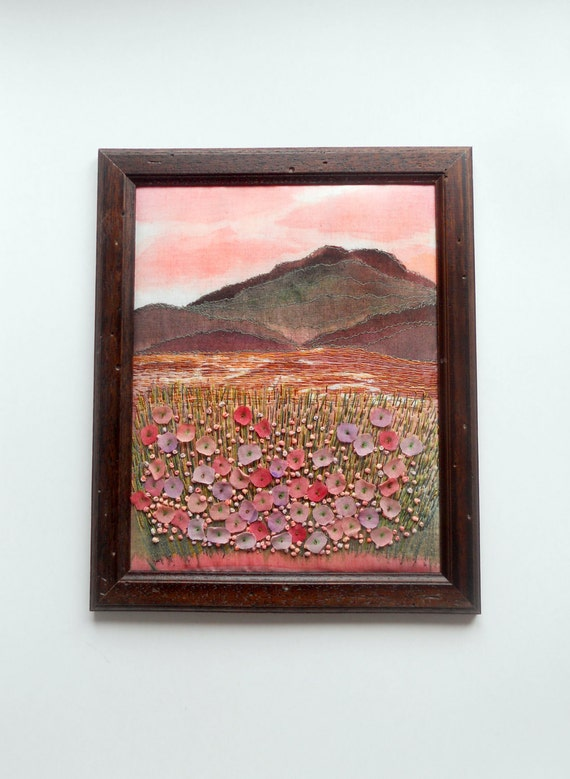 landscape with embroidered flowers      reserved for Laurie