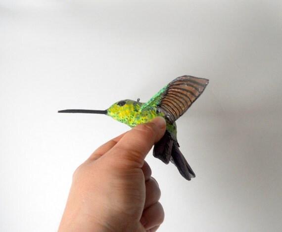 Paper mache Art bird sculpture Hummingbird original designer handmade