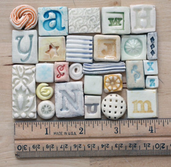 Samples of 10 small tile for jewelry, mosaics, wall pieces, collage or art (can be doubled)