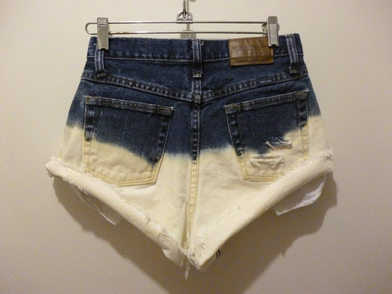Vintage High Waisted Bleached Cutoff Jeans / Denim Shorts / Distressed