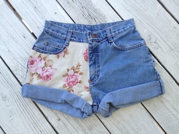Vintage High Waisted Floral Print Jean shorts