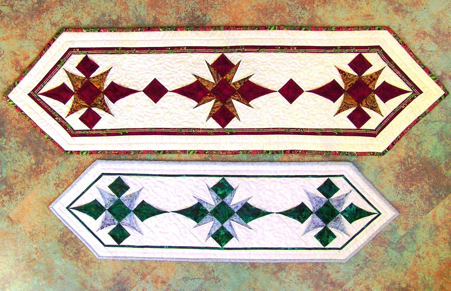 Quilting Patterns For Christmas Table Runners : Christmas Stars Table Runner PDF Quilt Pattern