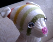 Jellybean the Glove Dog, Rainbow Striped Stuffed Puppy with Jeweled Eyes