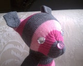 Glove Dog Stuffed Animal - Pink and Gray Striped Puppy Doll