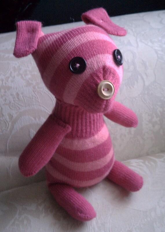 Candi the Glove Dog, Pink Striped Stuffed Toy Puppy
