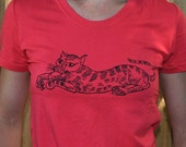 Cat and Mouse T Shirt Bamboo Organic Cotton Women's Girl's Sizes S M L Green Red Charcoal