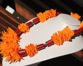 Rubber and Plastic beads Necklace - Orange and Red - Eco Friendly