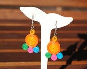 Multicolour quilled paper earrings