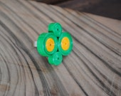 Quilled paper Ring - Green and Yellow