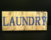 Rustic Wood Laundry Sign with Blue Letters