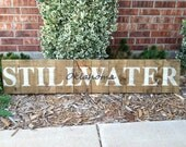 Stillwater Oklahoma name sign on recycled pallet wood