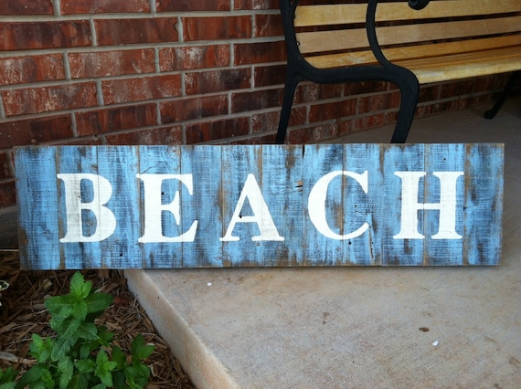 Rustic Dry-Brushed Blue BEACH Sign