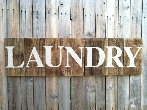 Large Rustic LAUNDRY Sign