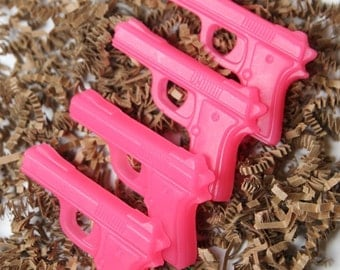 The Gun Show - Kid Soap Favors - Child Party Favors - Birthday Party - 10 Pink Pistol Soap Favors