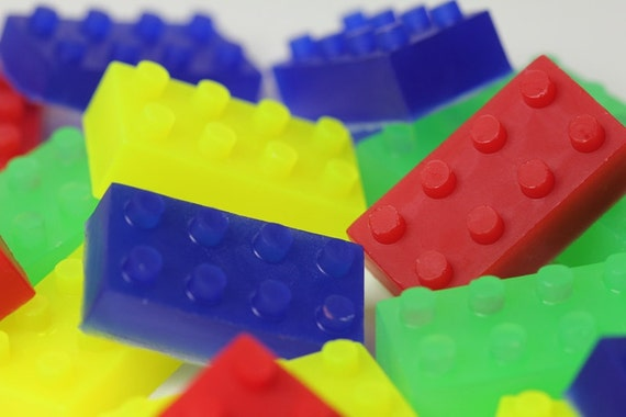 Lego Type Building Block Soap - Kid Soap Party Favors - Set of 12 Blocks