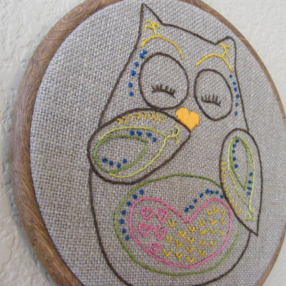 Adorable owl embroidery hoop home decor wall by